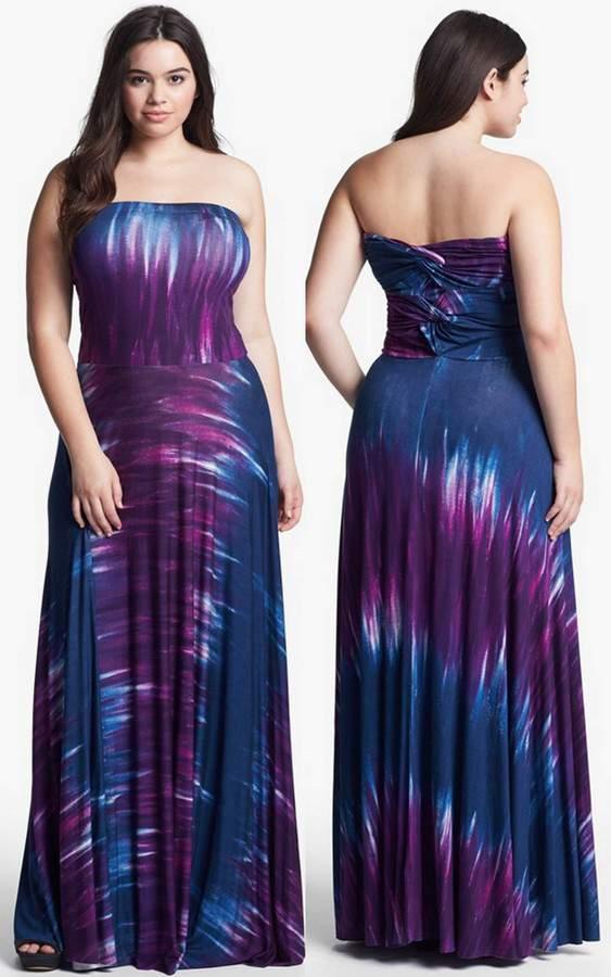 FELICITY & COCO Junior Plus Size Strapless Maxi Dress