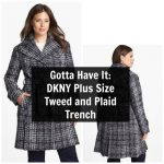 DKNY Plus Size Tweed and Plaid Trench