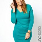 knitted-dress-with-deep-v-neck-in-jade-Plus Size Sweater Dress on The Curvy Fashionista