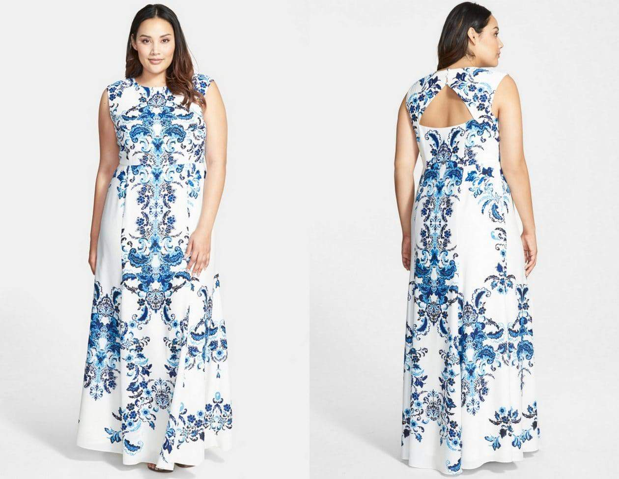 Crêpe de Chine Maxi Dress number by Eliza J on TheCurvyFashionista.com #TCFStyle