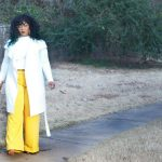 Marie Denee from The Curvy Fashionista in Yellow Plus Size Wide Leg Pants from Lane Bryant