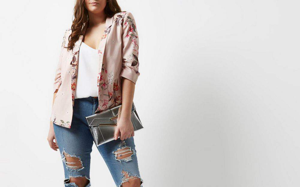 Plus Size pink floral print ruched sleeve blazer