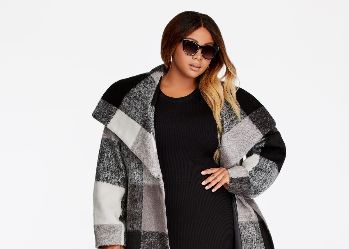 Plaid Wool Double Breasted Plus Size Coat