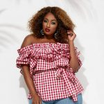 Ruffle Gingham Belted Blouse at AshleyStewart.com