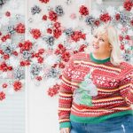 Glitter and Lazers in a plus size ugly christmas sweater