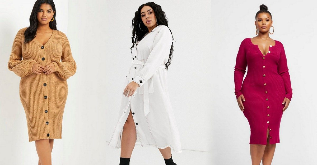 Plus size button up plus size dresses