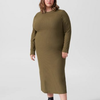 LEXI LONG SLEEVE RIB MAXI DRESS