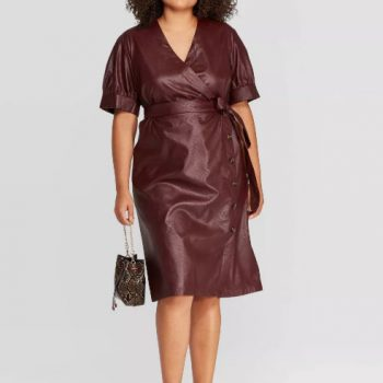 Leather V-Neck Midi Dress
