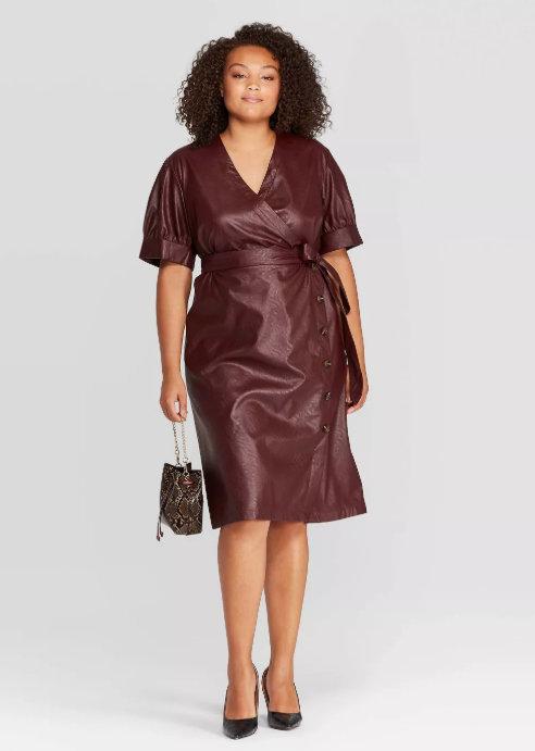 Leather V-Neck Midi Dress