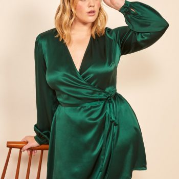 Starlight Long Sleeve Silk Wrap Dress