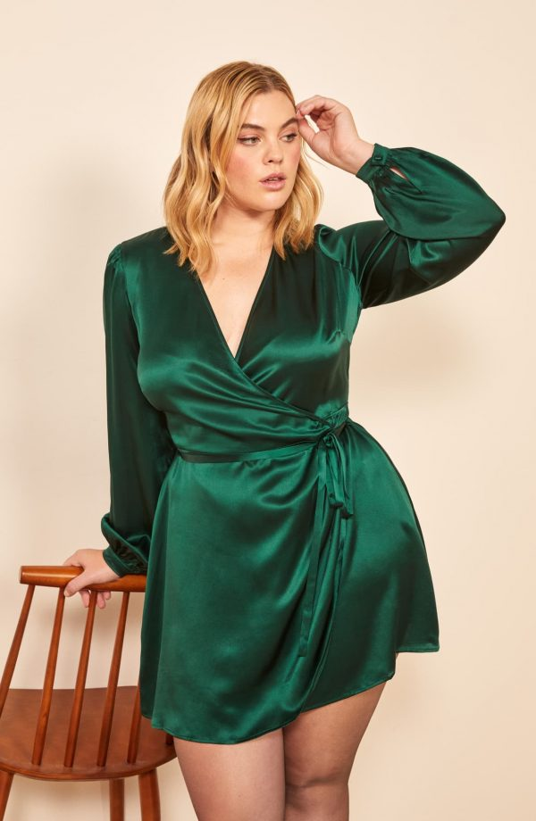 Starlight Long Sleeve Silk Wrap Dress