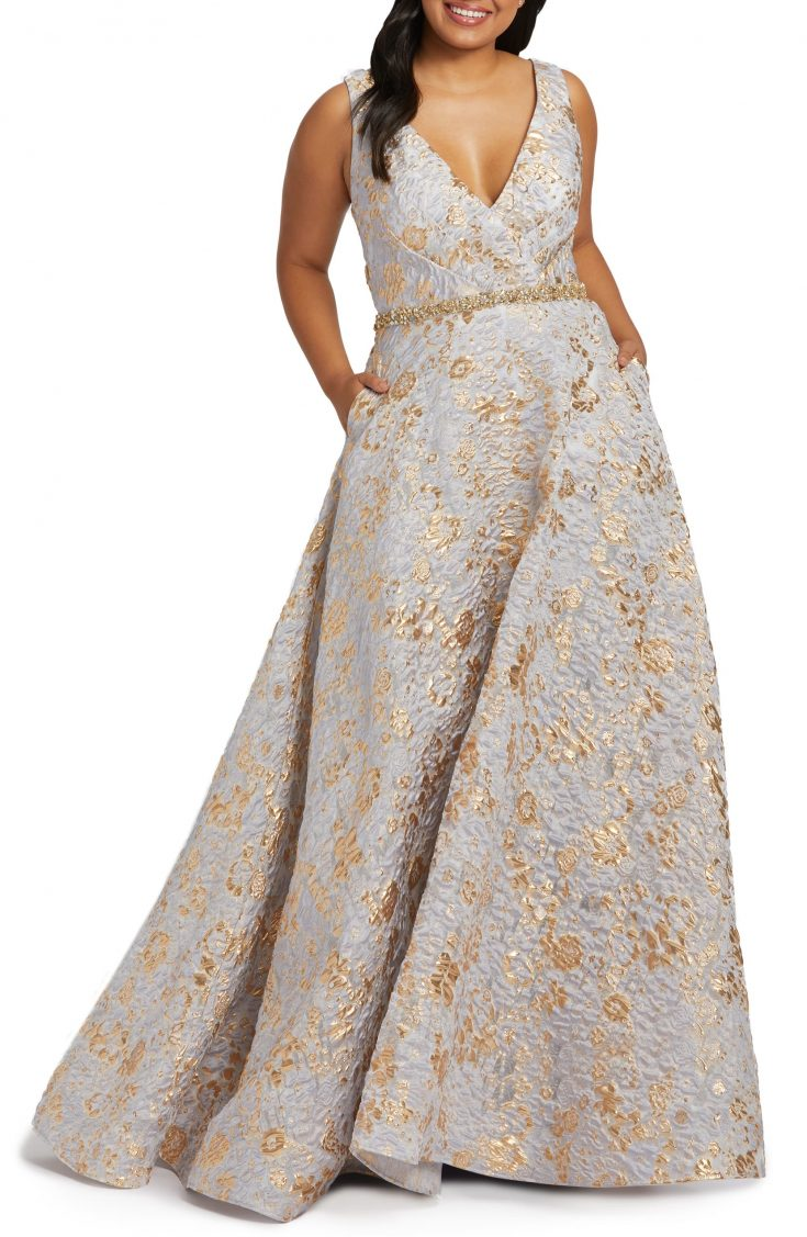 Floral Metallic Brocade Prom Dress with Train by MAC DUGGAL