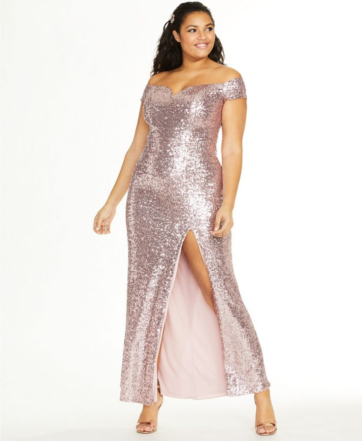 Trendy Plus Size Off-The-Shoulder Sequined Gown by B Darlin