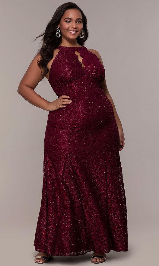 Empire-Waist Long Plus Glitter-Lace Prom Dress