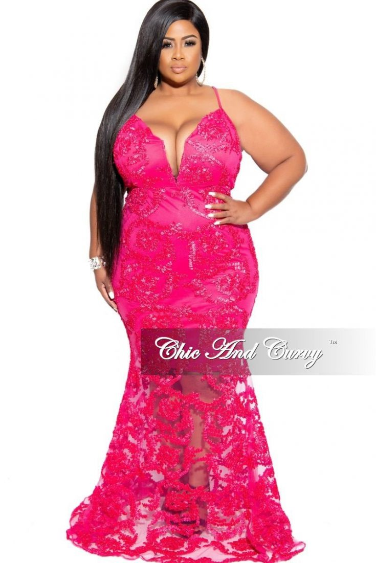 Plus Size Gown with Deep V and Mermaid Bottom in Hot Pink