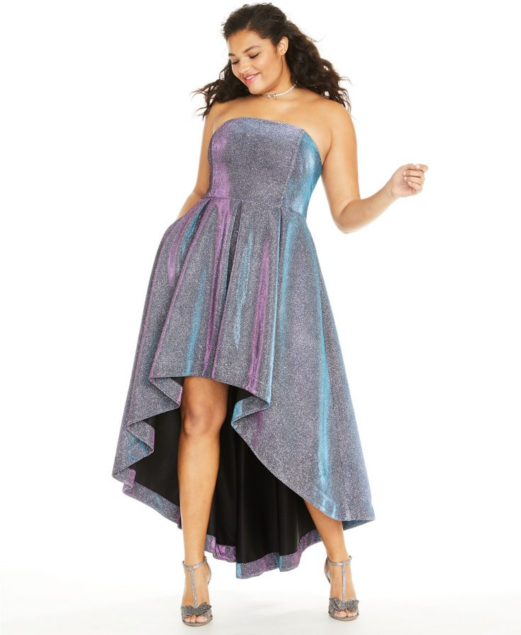 Trendy Plus Size Iridescent Metallic High-Low Dress by Speechless