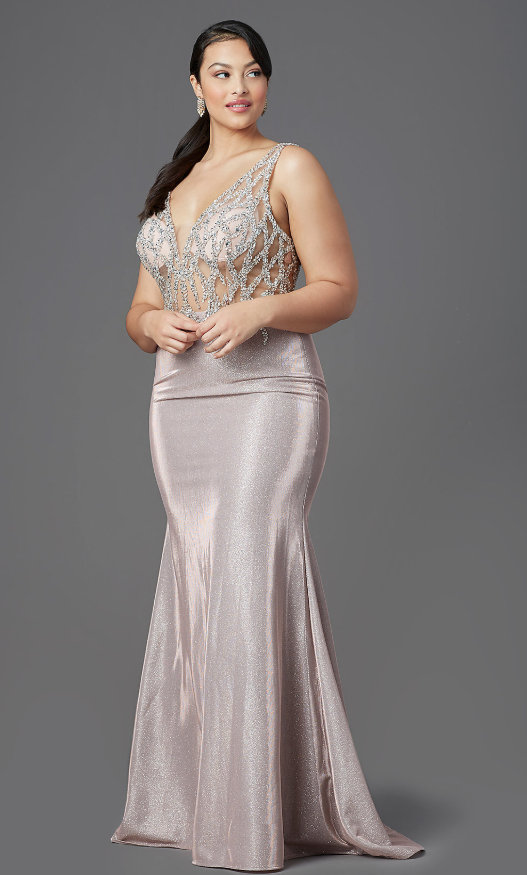 Plus-Size Long Beaded Metallic Rose Gold Prom Dress