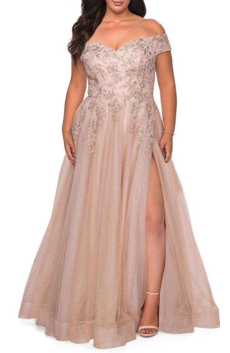 Lace & Tulle Off-Shoulder Gown by La Femme