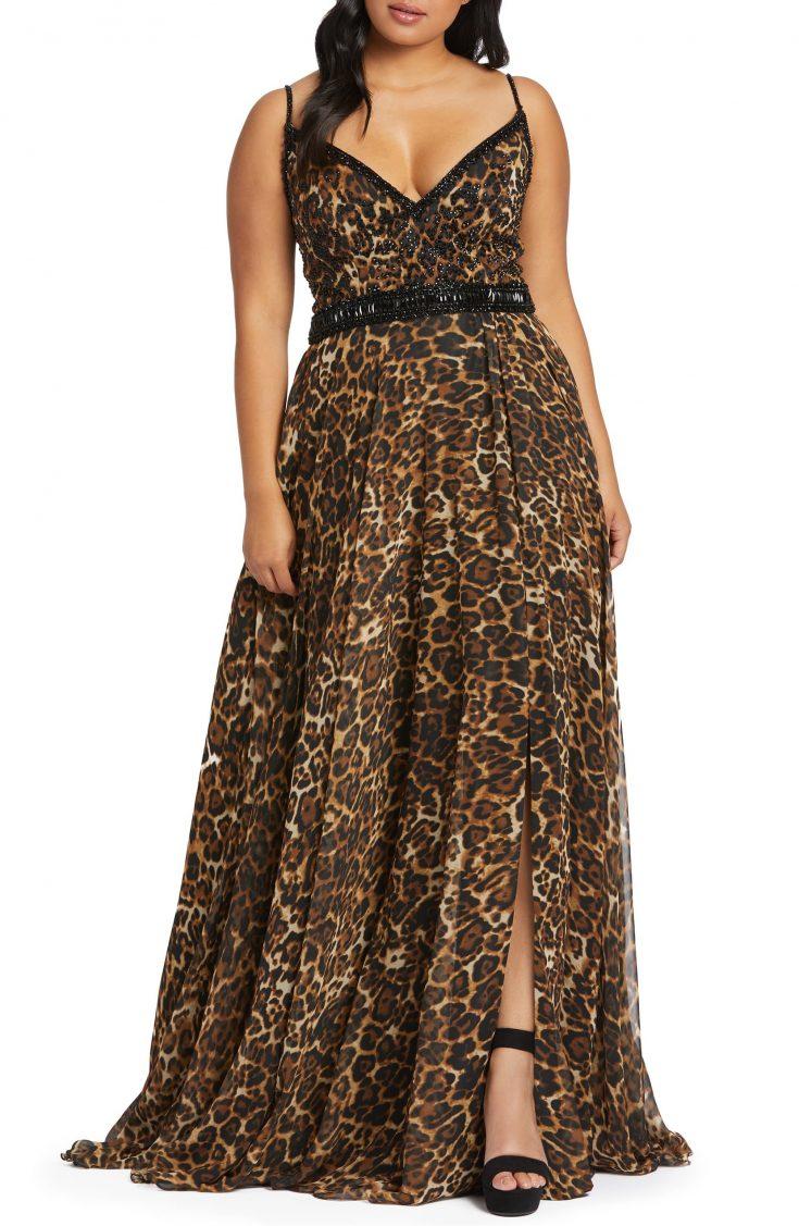 Cheetah Print Chiffon Prom Dress by Mac Duggal