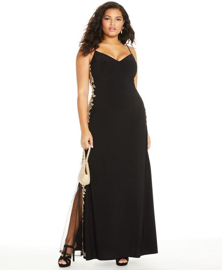 Trendy Plus Size Rhinestone Appliqué Gown by B Darlin
