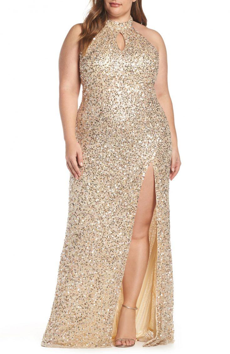 Sequin Mesh Evening Dress
