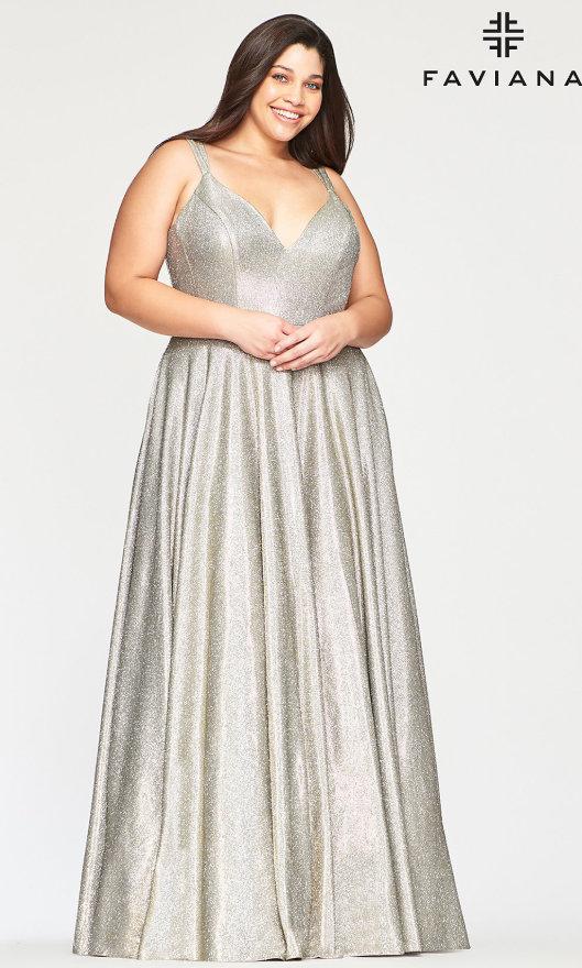 Long V-Neck Glitter Plus-Size Designer Prom Dress