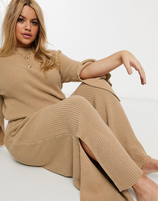 ASOS DESIGN Curve lounge premium knitted pants with splits