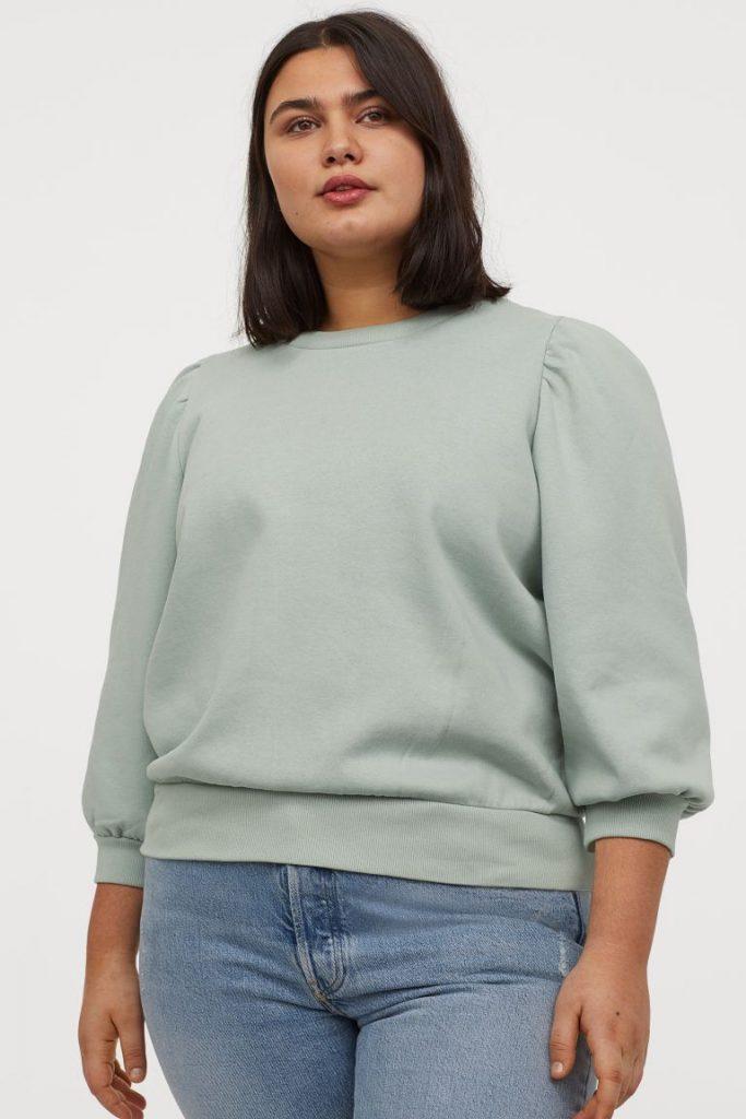 H&M+ Puff-sleeved Sweatshirt