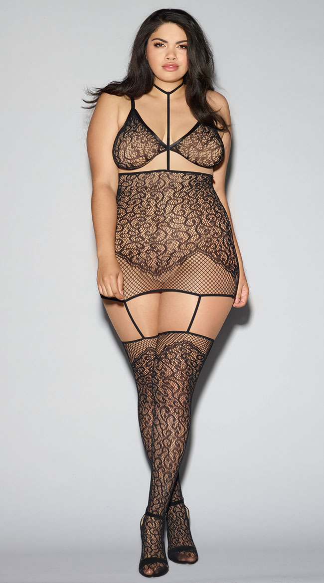 Plus Size Convertible Harness Bodystocking