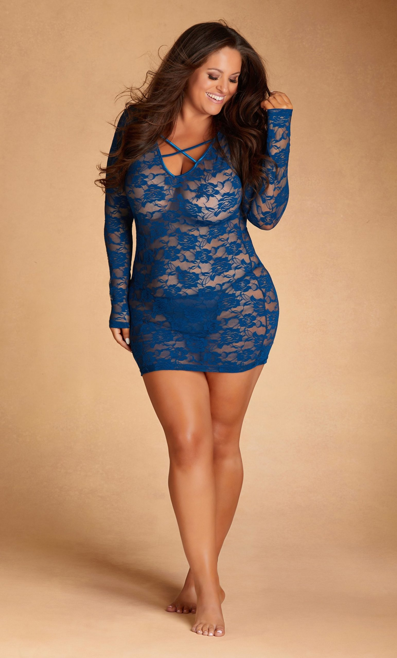 All Lace Mini Dress with Criss Cross Back