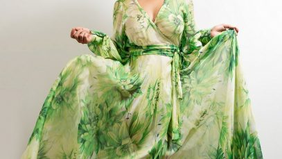 Maxi Wrap Dress No27 Green Superbloom Silk Chiffon