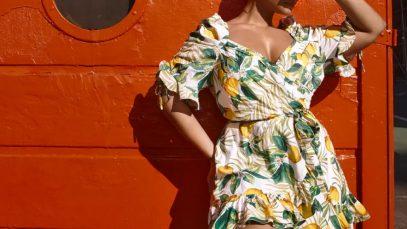 Fashion to Figure Lemon Print Plus Size Romper