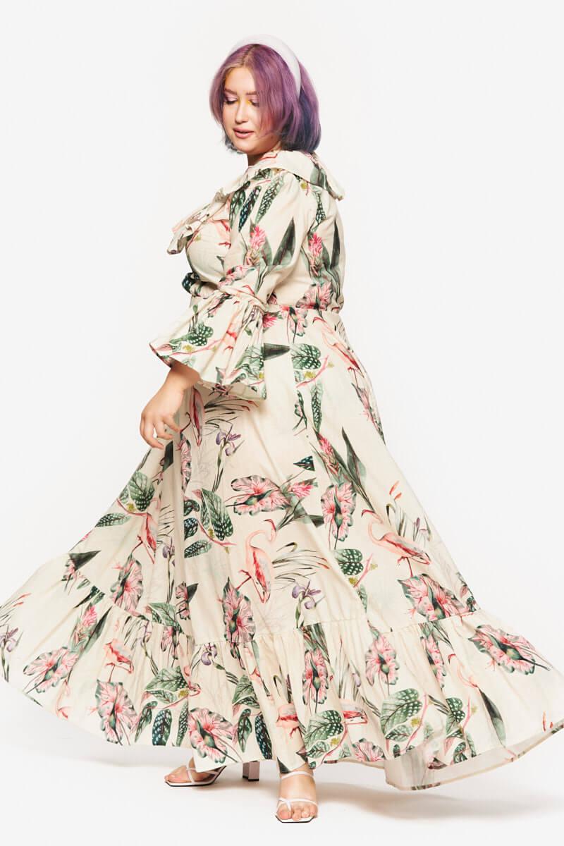 Emmeline Dress Maxi Flamingo Linen from loud Bodies