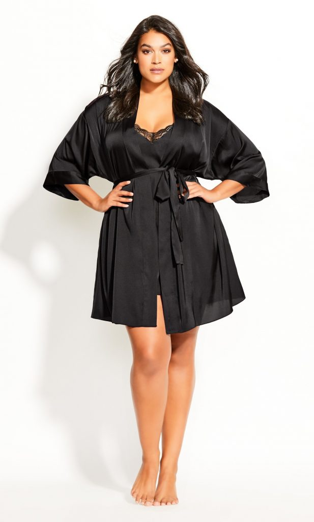 Hips and Curves black plus size robe