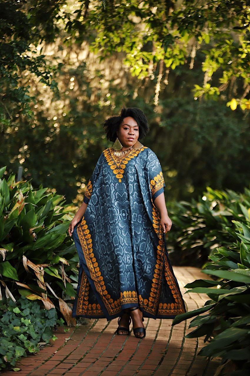 Fro Plus Fashion Walking through garden in a maxi length plus size Caftans