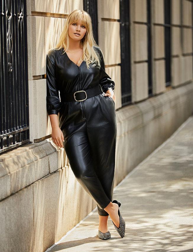 Eloquii Plus Size Leather Jumpsuit
