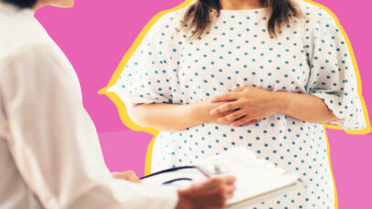 plus size woman in a hospital gown with doctor