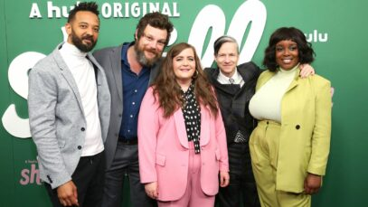 Ian Owens, Luka Jones, Aidy Bryant, John Cameron Mitchell, and Lolly Adefope at the premiere of Hulu's 'Shrill' in New York on March 13, 2019.
